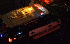 police car covered in snow