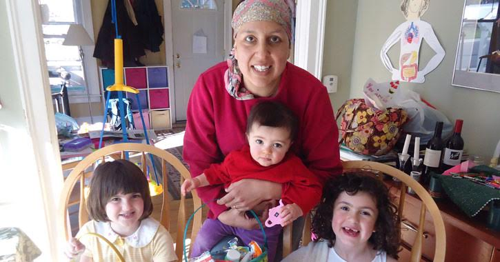 a woman with cancer with her kids on Easter