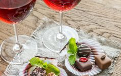 wine and small chocolates