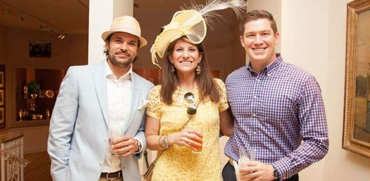 three people dressed up for a Derby party