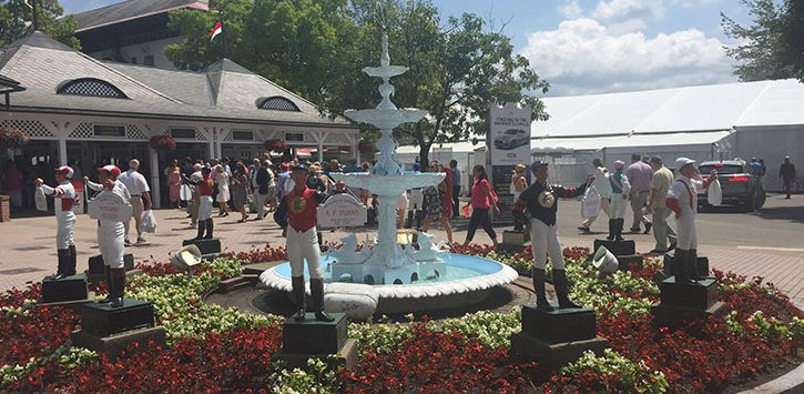 fountain at saratoga race course entrance