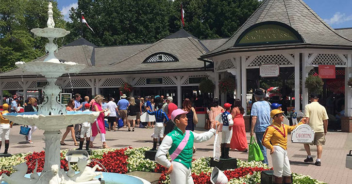 jockey statues at the race course gates
