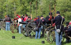 Civil war reenactors with Civil War cannons
