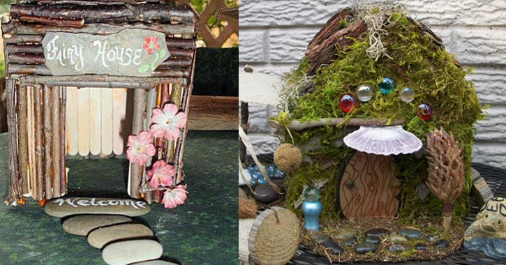 two split images of different fairy houses