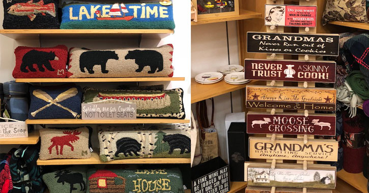 split image with Adirondack-themed pillows on the left and handmade signs on the right