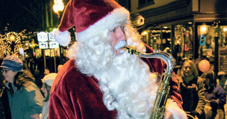 Santa playing the saxophone