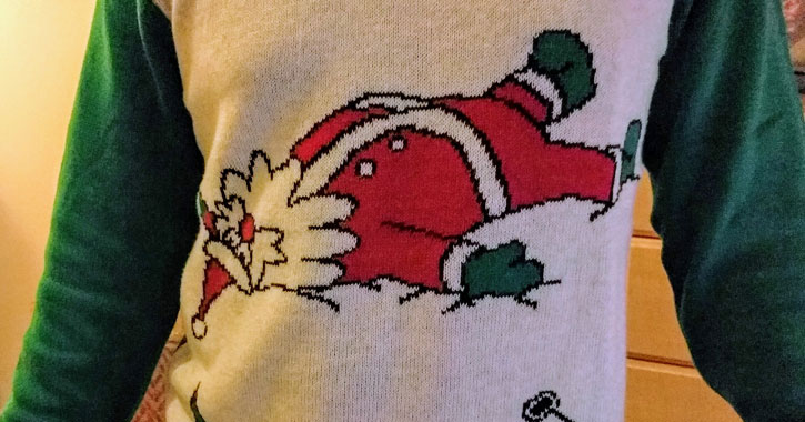 close up of ugly Christmas sweater