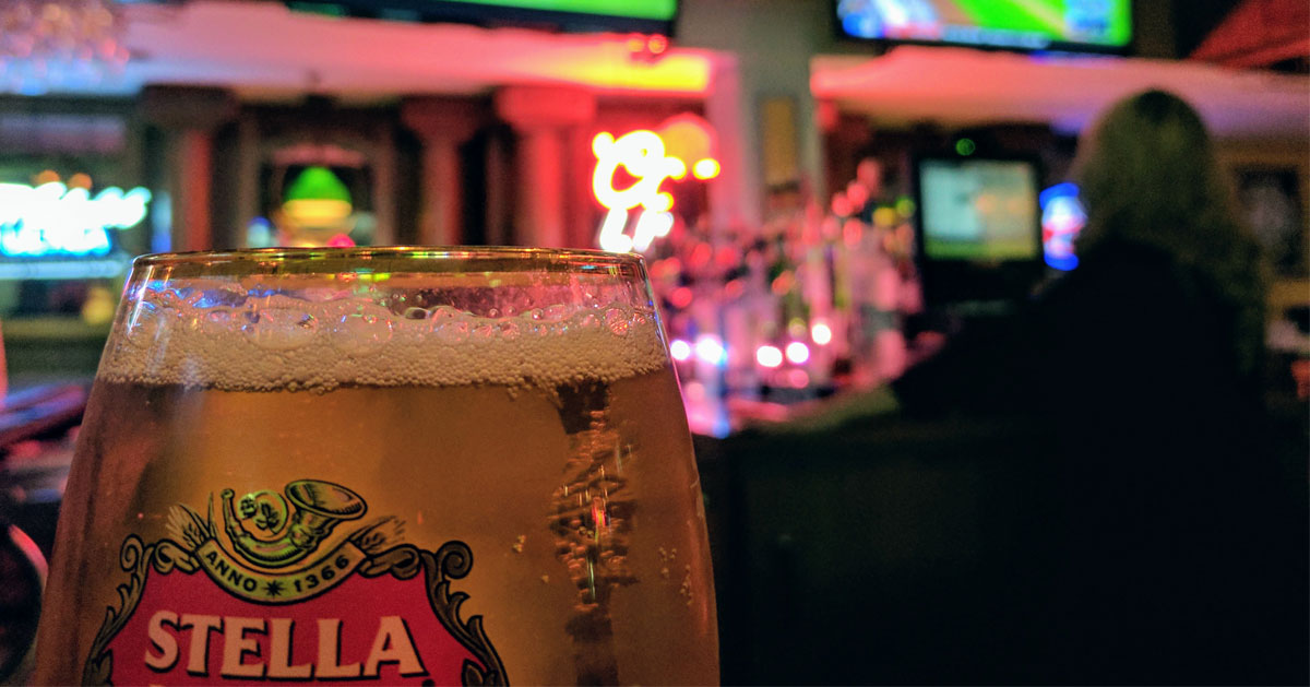 glass of Stella beer on a bar