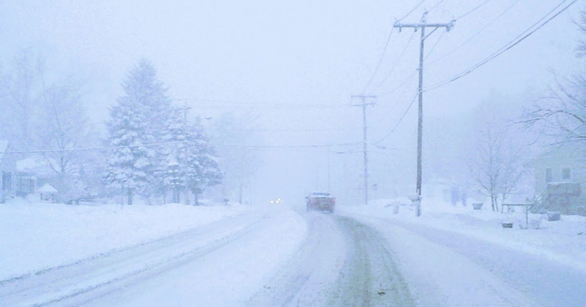 a whiteout on the road