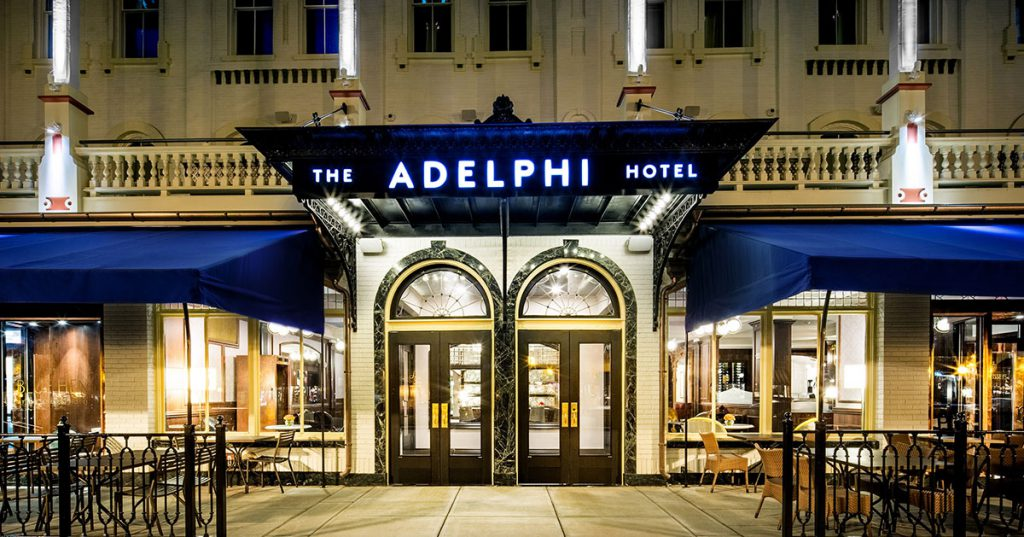 front of the adelphi hotel