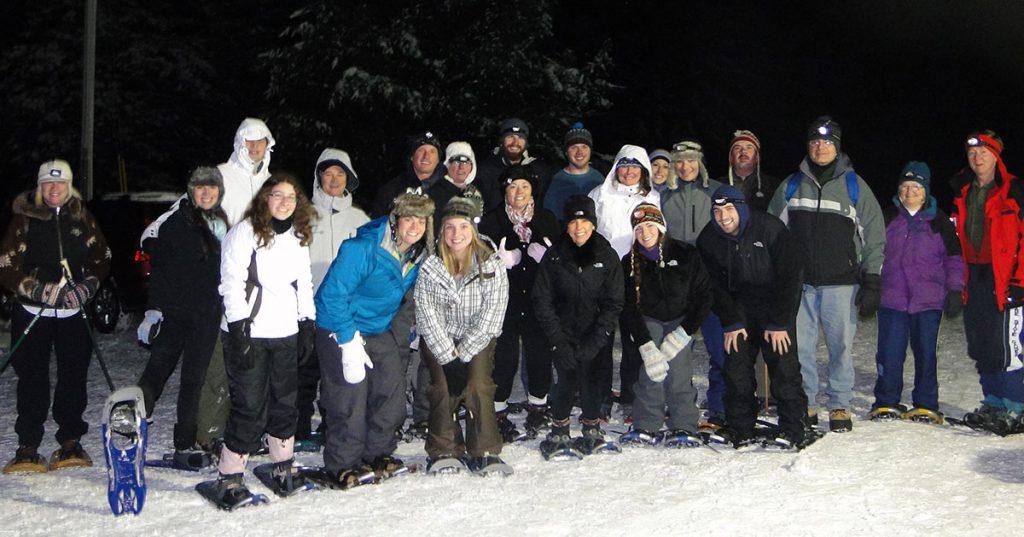 snowshoe group at night