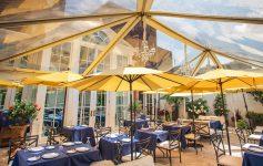 outdoor patio with umbrellas