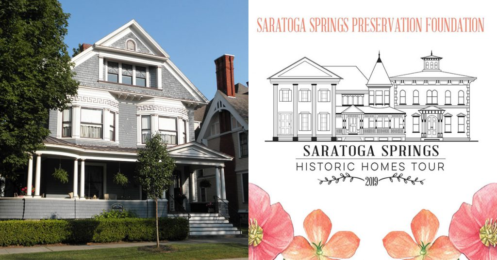 side by side photo of a historic home and an event logo