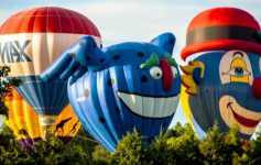 three hot air balloons