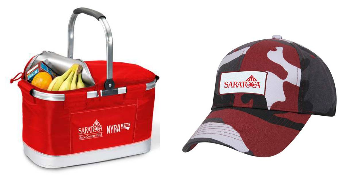 red cooler and camo hat
