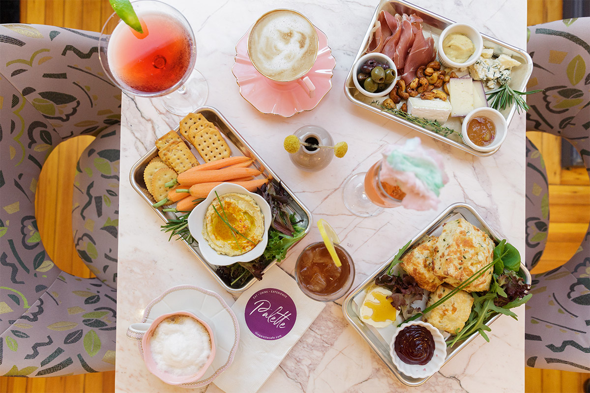 overhead view of food and drinks on a table