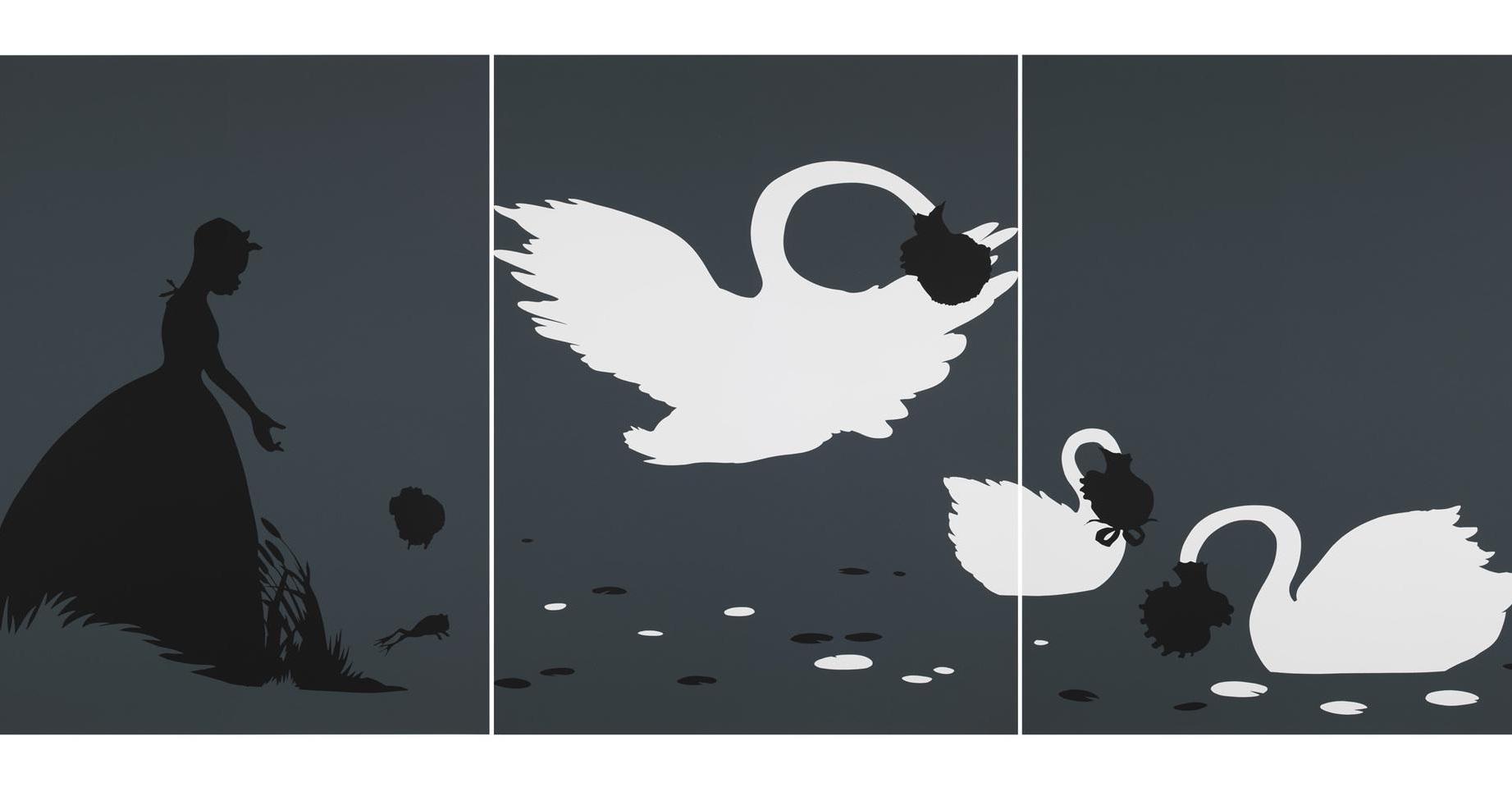 a screen print by Kara Walker of a woman and swans
