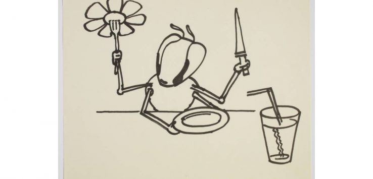 drawing of bug at table