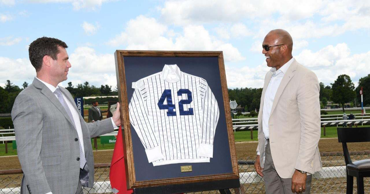 Mariano Rivera receives his jockey silks personalized with his Yankee's jersey number, 42