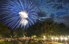 a crowd watches fireworks over spac