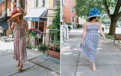 two women in dresses and hats in saratoga