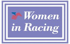 logo that says women in racing with a horse and rider