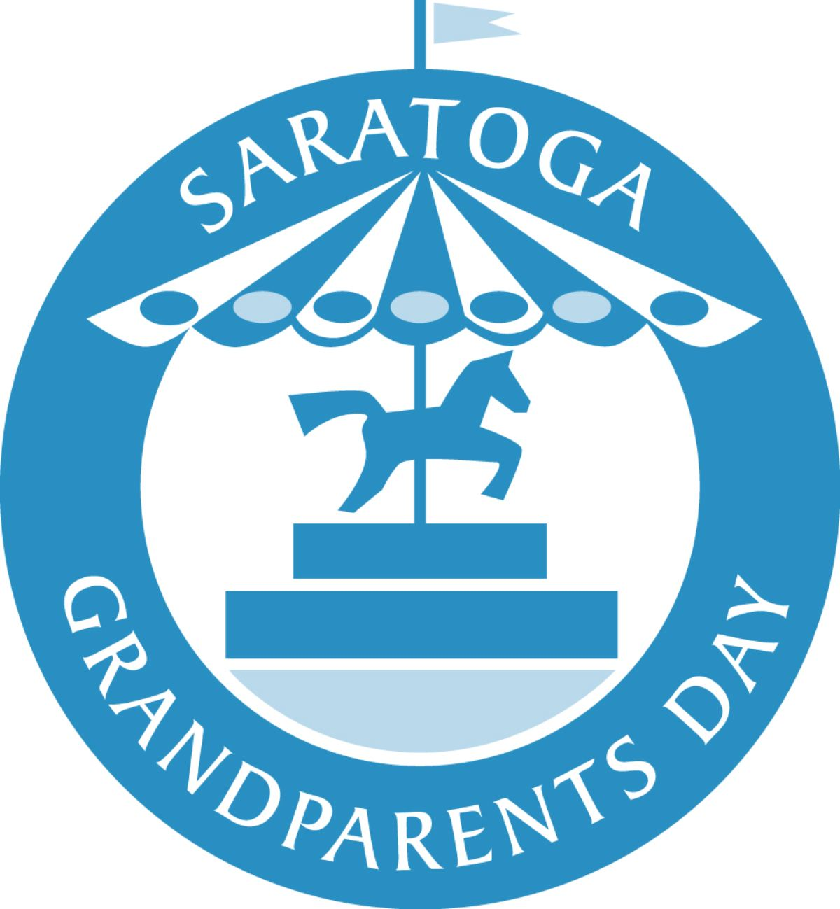 logo for saratoga grandparents day with a carousel horse