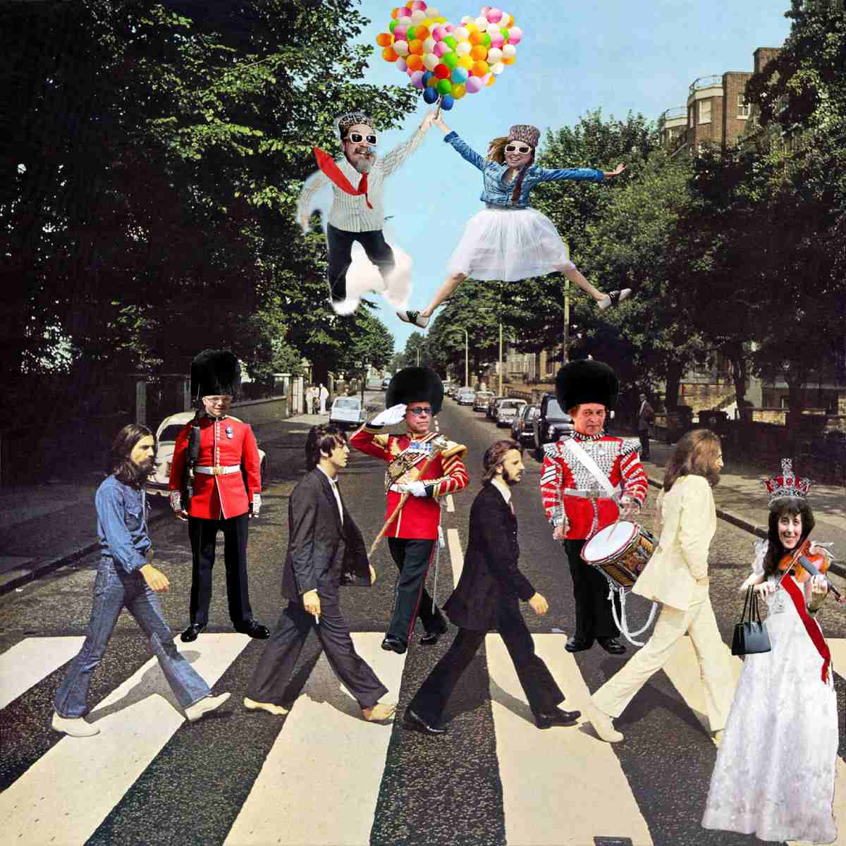 promotional image for the performance, with the featured artists photoshopped into the abbey road album art