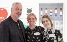 jack shear with skidmore college students at an art event