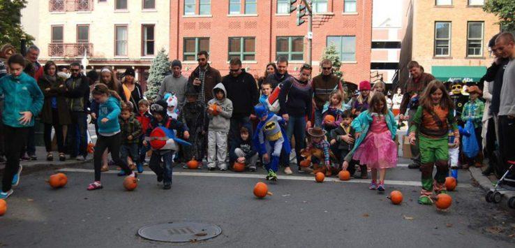 pumpkin rolling at the saratoga dba fall festival