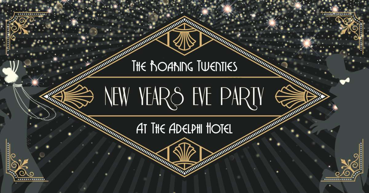 promotional image for adelphi's new year's eve party