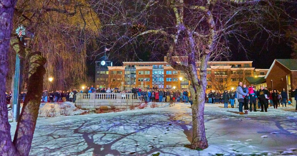 people outdoors at winter event
