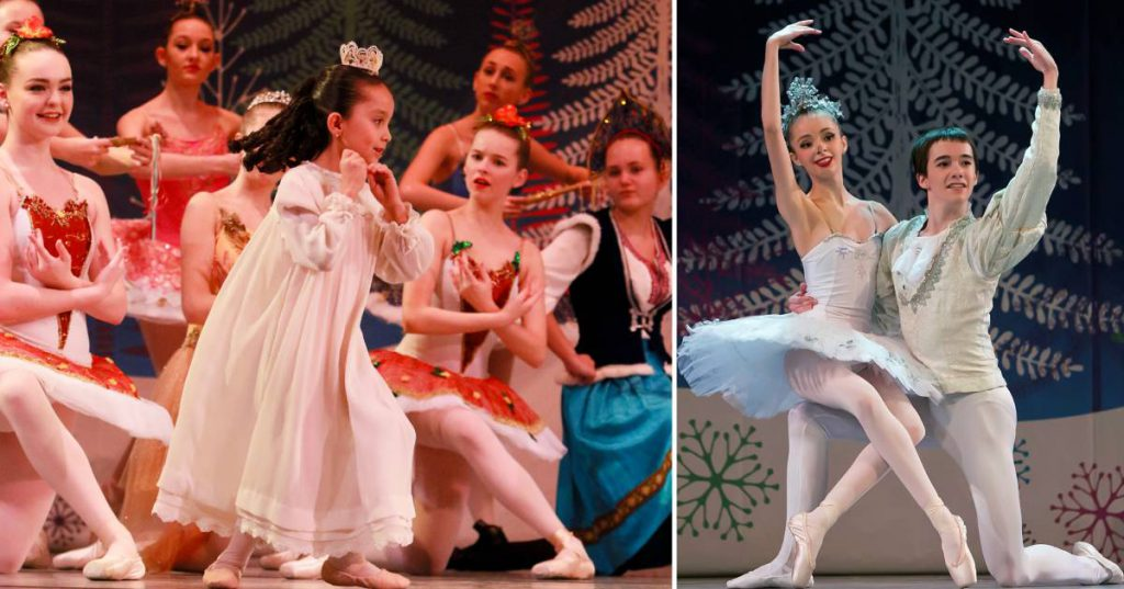 two photo from a nutcracker performance