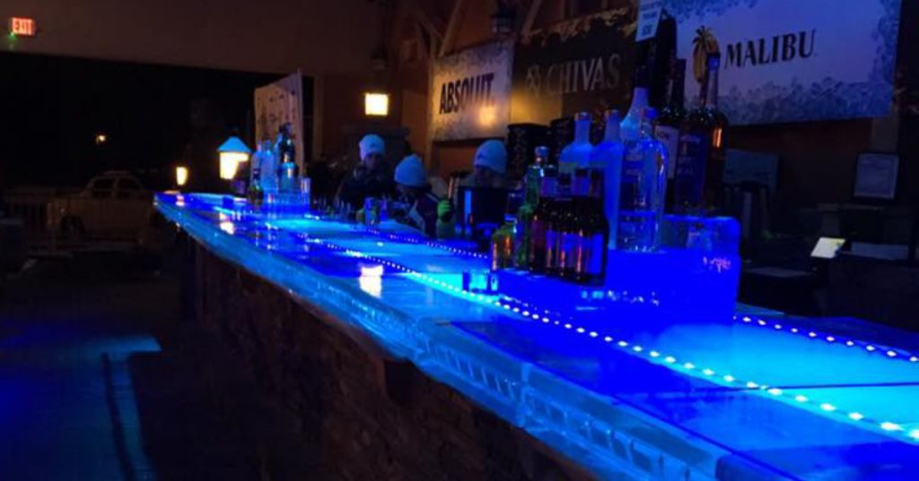 a blue ice bar