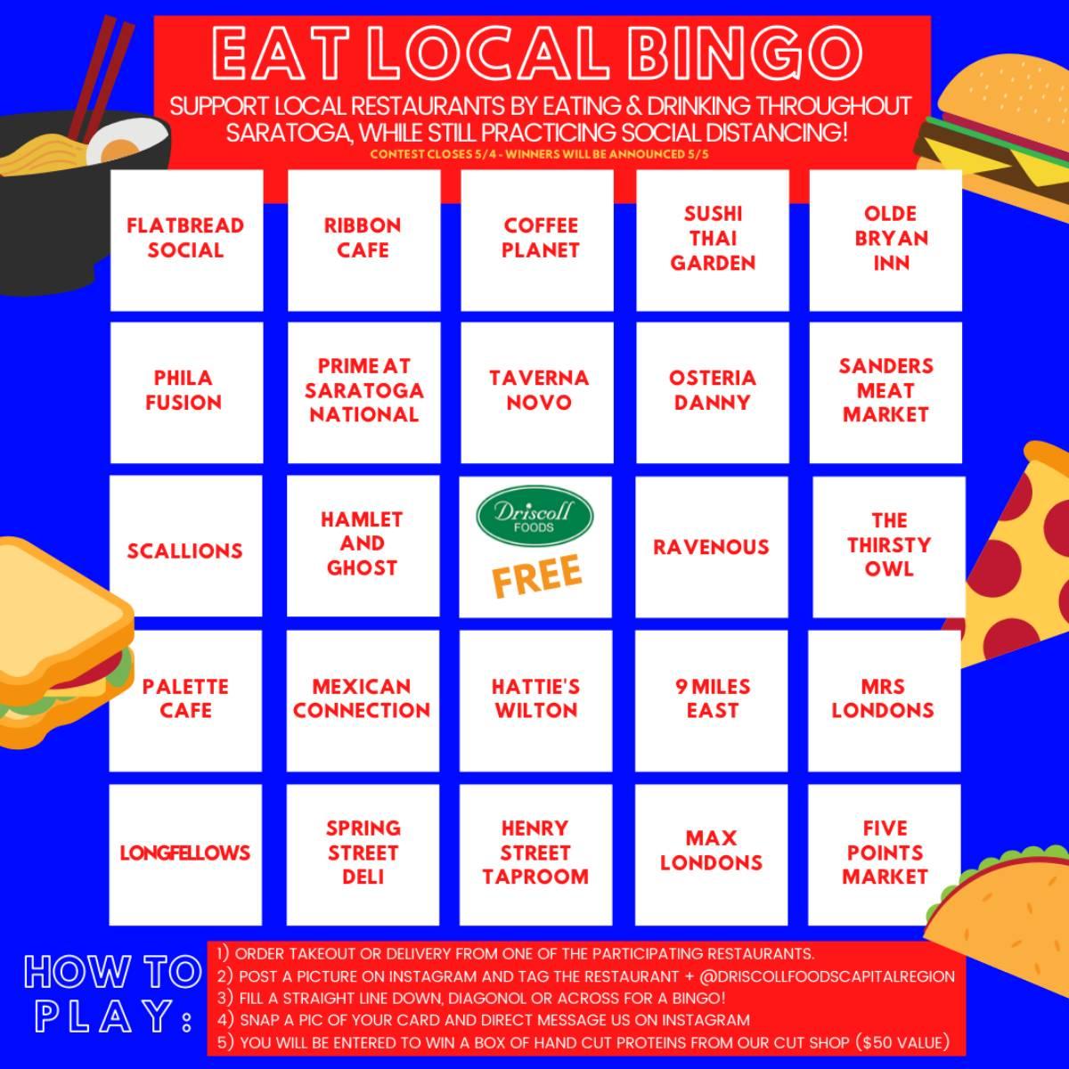 saratoga restaurant bingo sheet