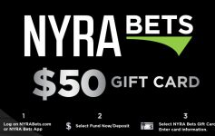 a black gift card that reads nyra bets fifty dollar gift card