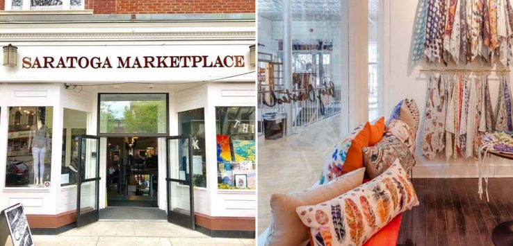 photo of the front of saratoga marketplace and an interior store photo