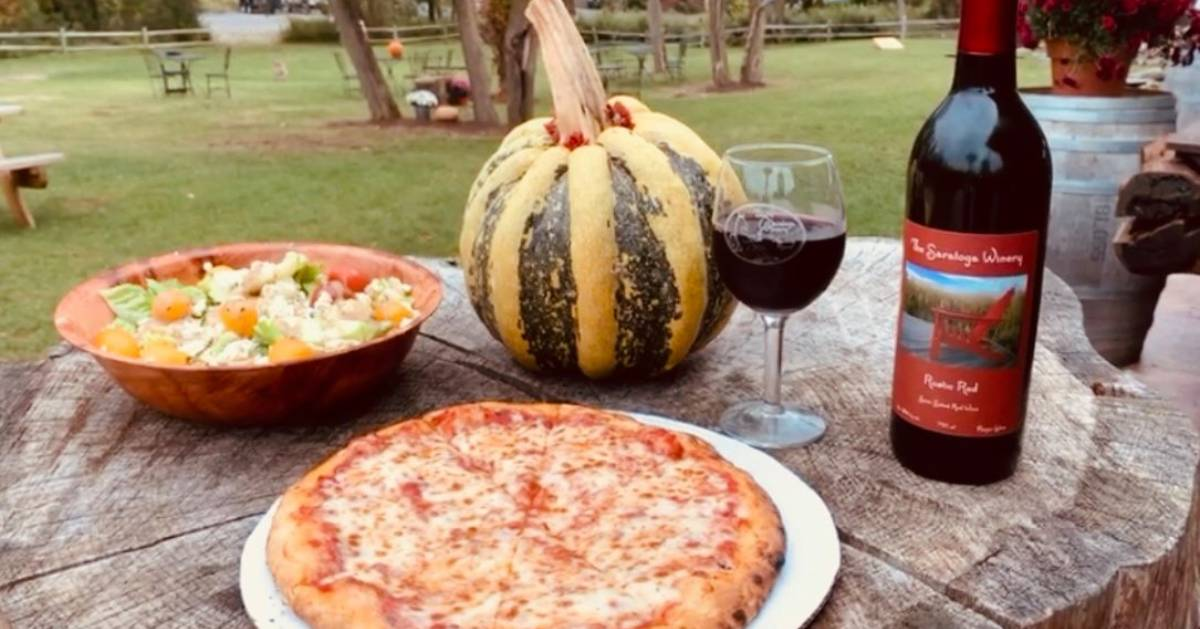 outdoor photo in fall, wine, pizza