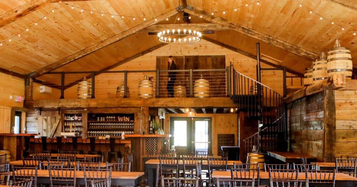 inside winery barn