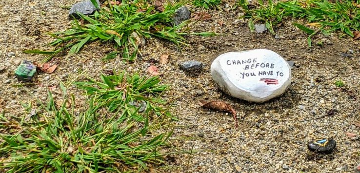 rock with inspirational message