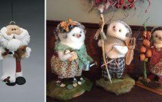 a santa ornament and three small animal figurines
