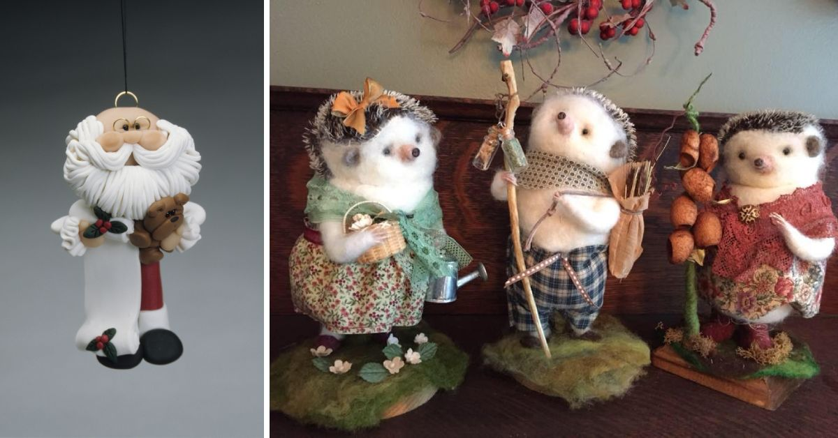 a santa ornament and three small animal figurines
