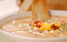 a bowl of corn chowder