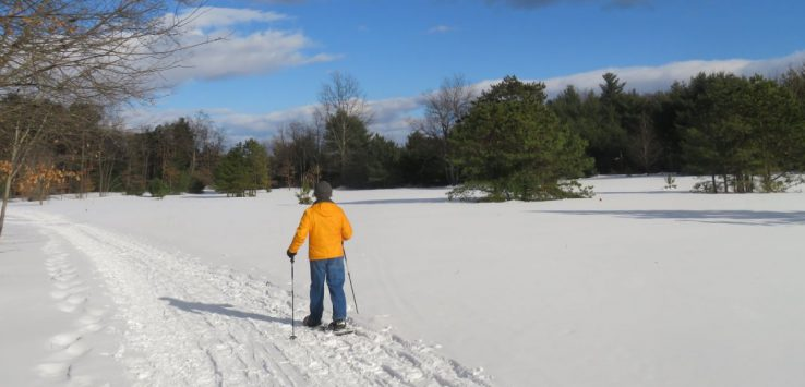 a snowshoer in a yellow coat