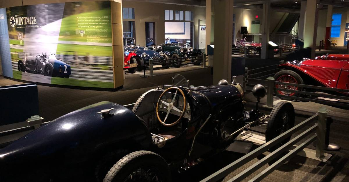 vintage cars in a museum