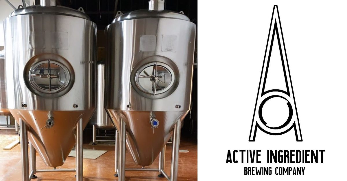left photo of brewing tanks and right photo of active ingredient brewing co logo