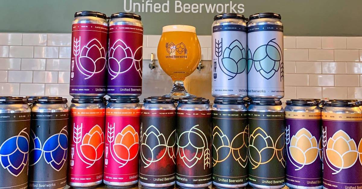 lineup of canned craft beers