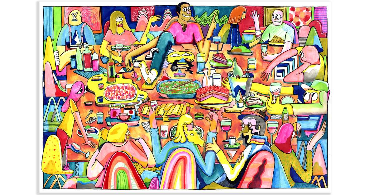 colorful painting of human like figures at a table