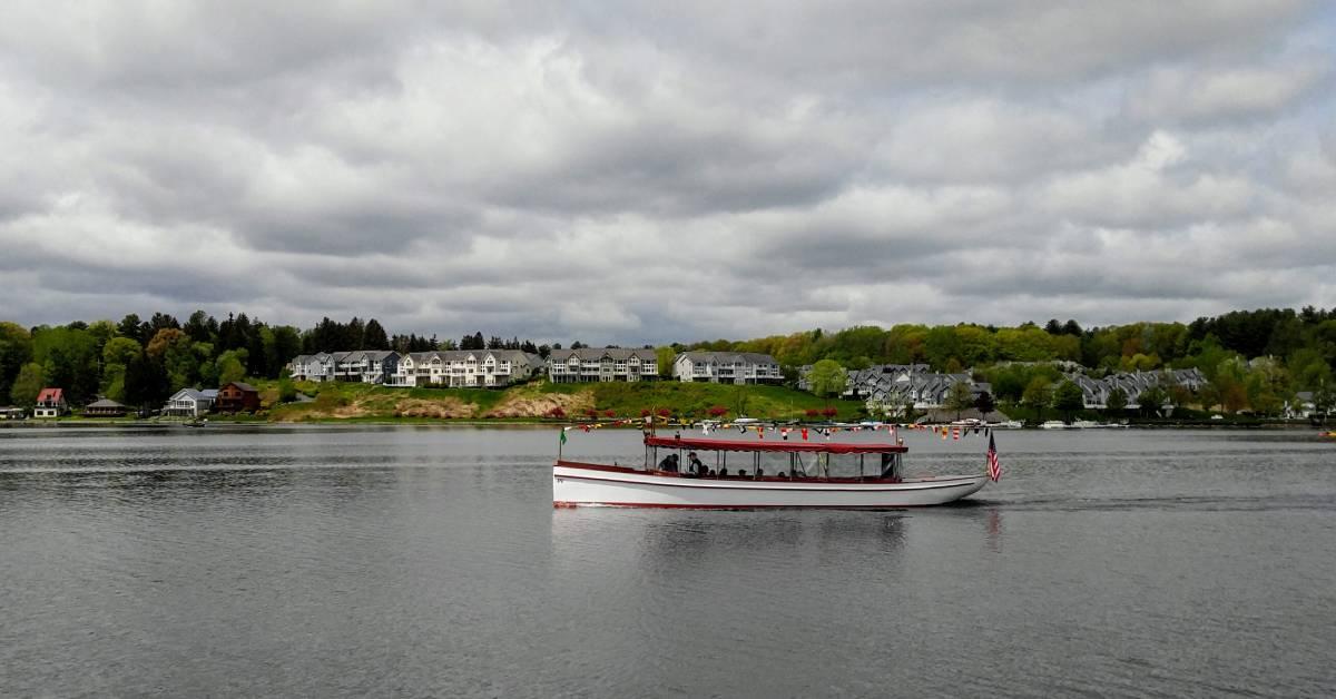 cruise boat on a lake