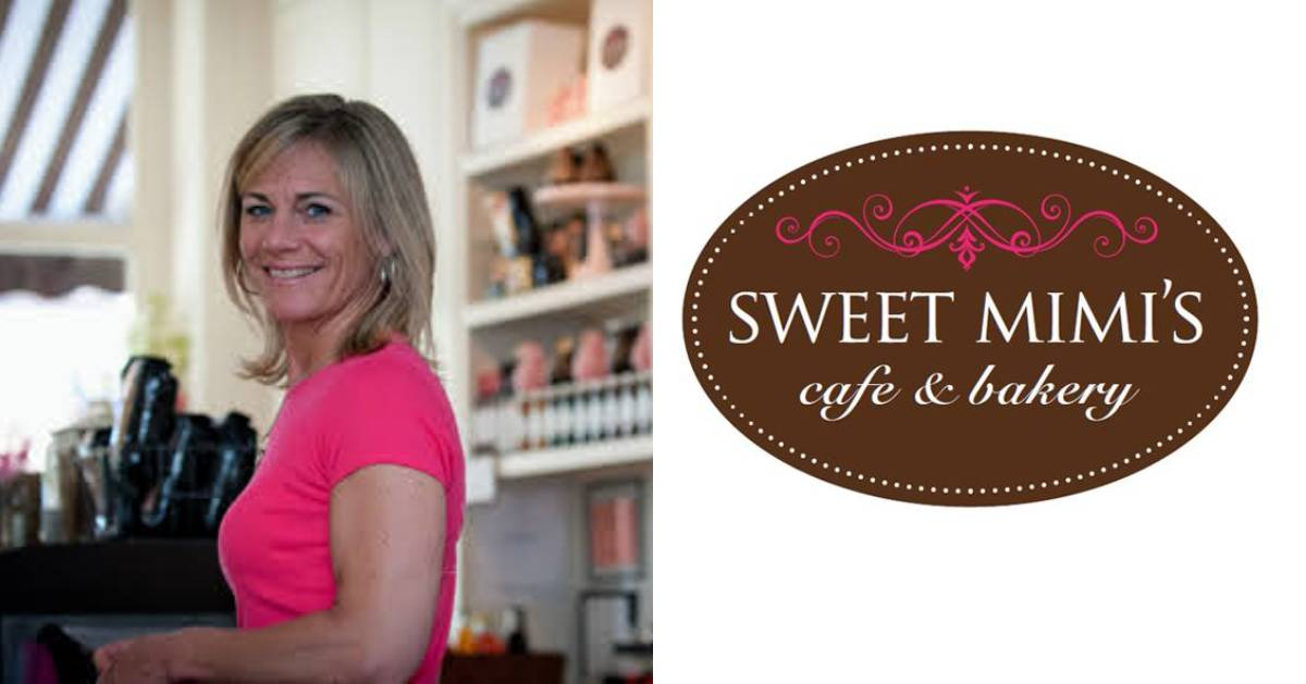 split image with woman on the left and bakery logo on the right